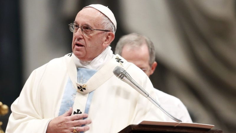 Pope says terrorism is bloodstain on world