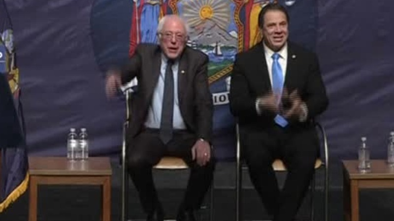 Sanders cozies up to Cuomo for free-tuition plan