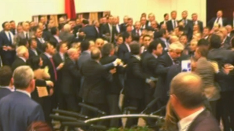 Turkish lawmakers close debate with brawl, again