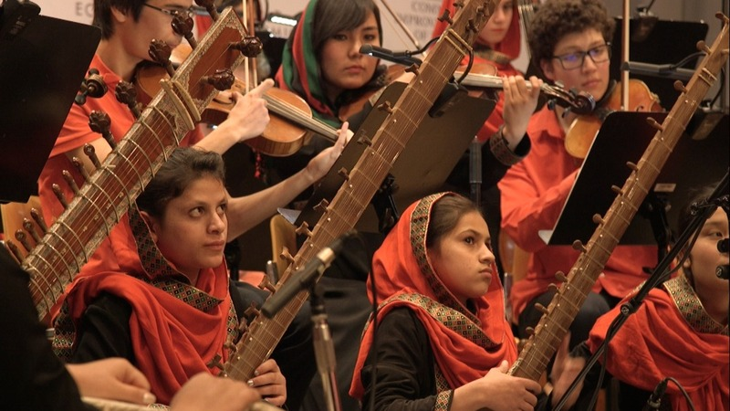 All-female Afghan orchestra plays Davos out
