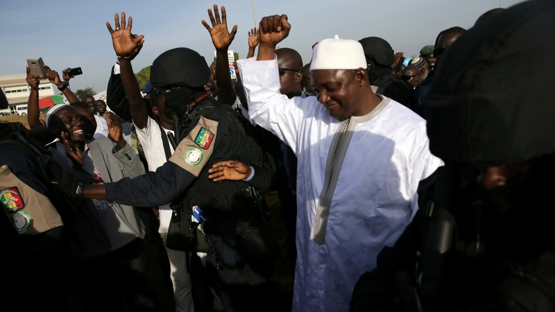Gambia's president makes a triumphant return home