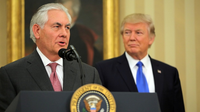 Tillerson faces unrest as he takes reins at State Dept.