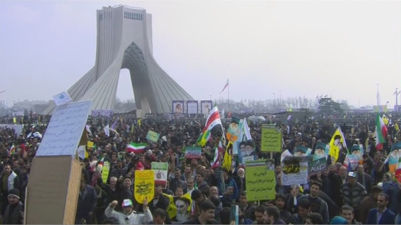 Vast crowds rally against Trump in Iran
