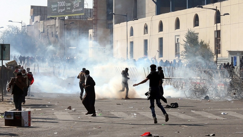 Tear gas fired at pro-Sadr protesters in Baghdad