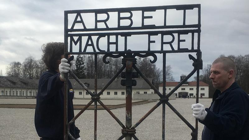 Stolen Nazi gate returns to concentration camp