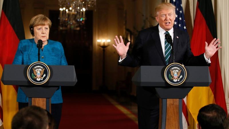 A frosty first meeting between Trump, Merkel