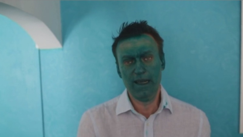 Russia's Navalny splashed with green paint