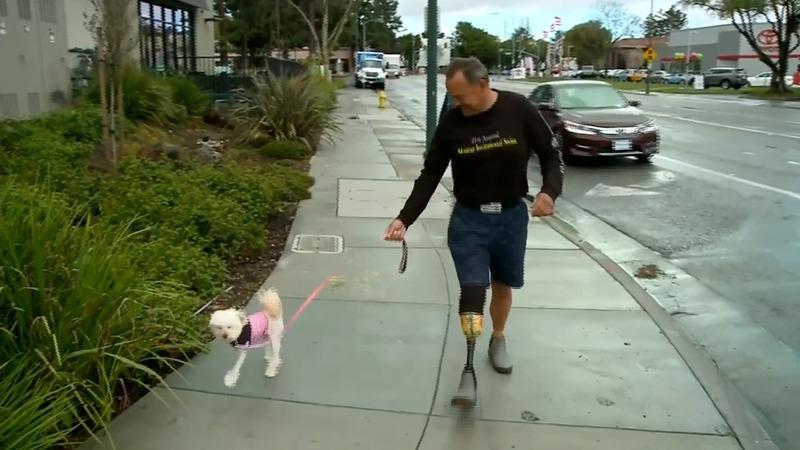 Amputee man adopts amputee dog