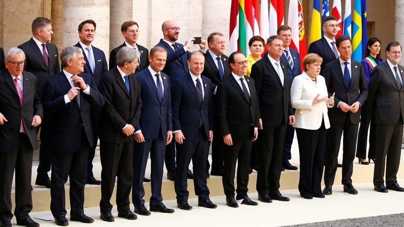 EU leaders renew fraying Union's vows on 60th birthday