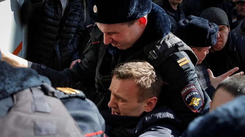 Opposition leader detained at Moscow protest