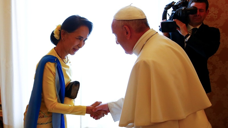 INSIGHT: Pope welcomes Aung San Suu Kyi