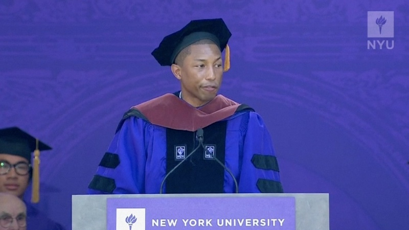 VERBATIM: Pharrell urges grads to get involved