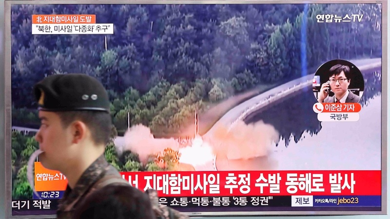 North Korea launches 'land-to-ship' missiles