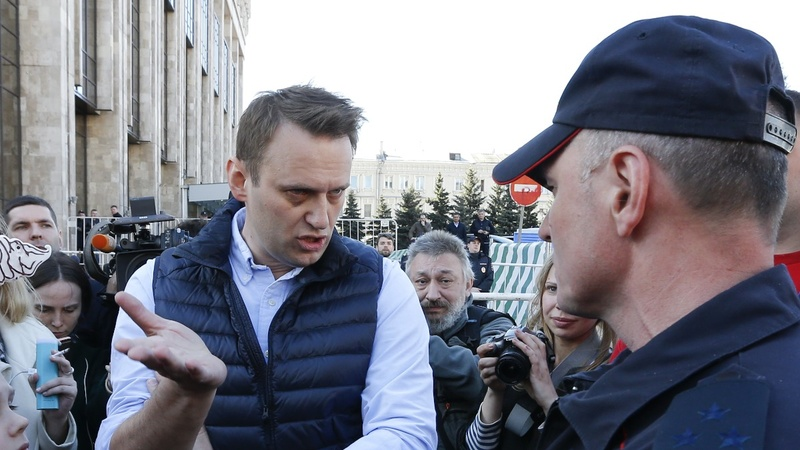 Opposition leader detained in Russia protests