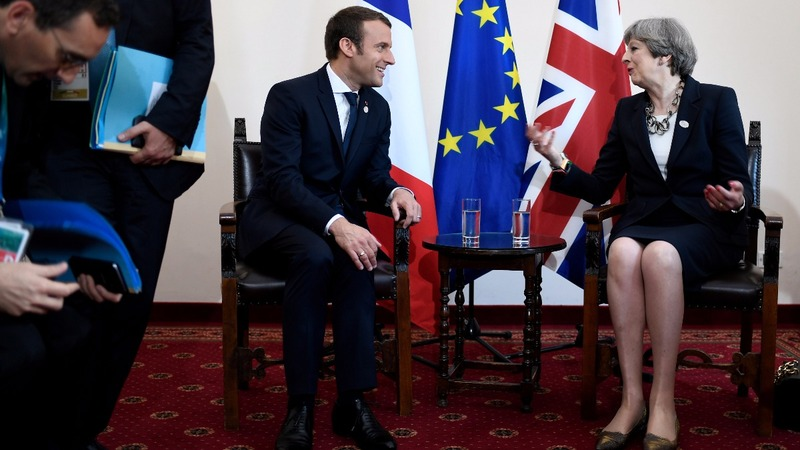 Boosted Macron to talk Brexit with UK's May