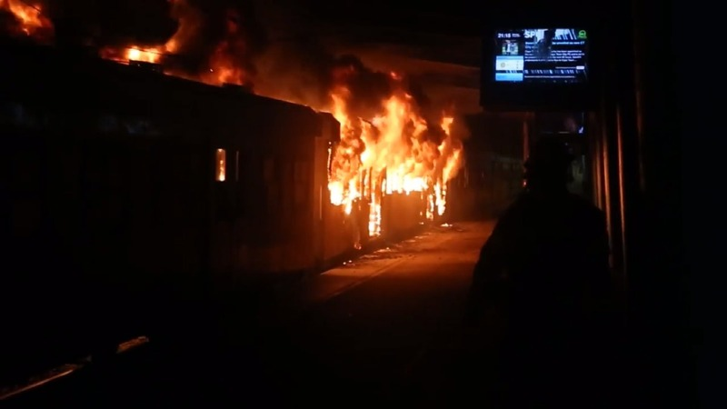 Protesters torch trains in Cape Town