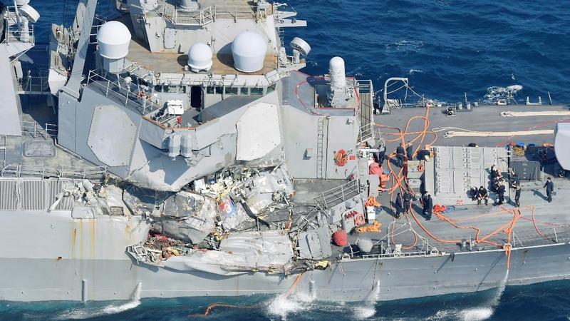 U.S. destroyer collides with container ship