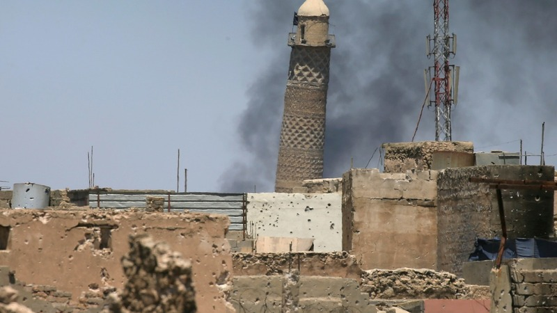 I.S. blows up famed Mosul mosque where it declared caliphate