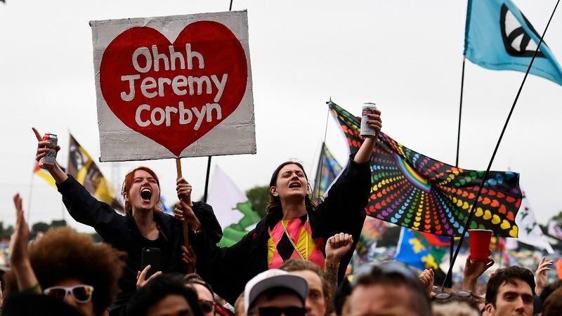 Labour's Jeremy Corbyn a hit at Glastonbury