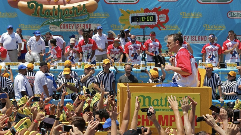 Joey Chestnut wins 10th hot dog eating championship