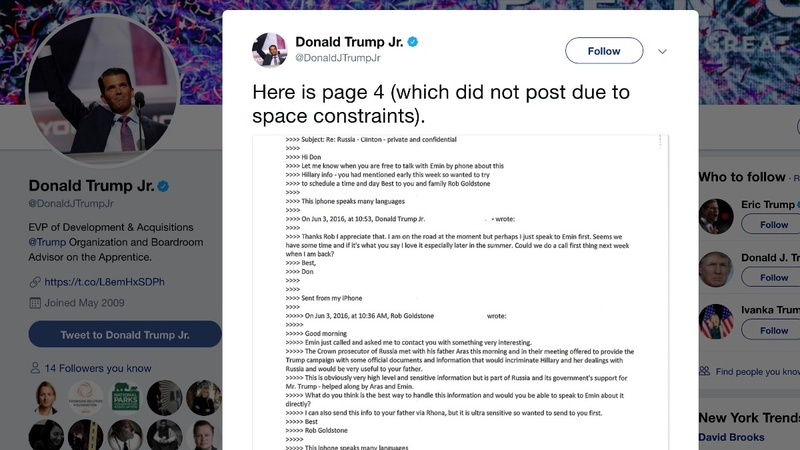 Don Jr. releases emails touting 'Russia's support for Mr. Trump'