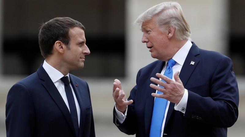 Trump-Macron rendezvous overshadowed by son's email