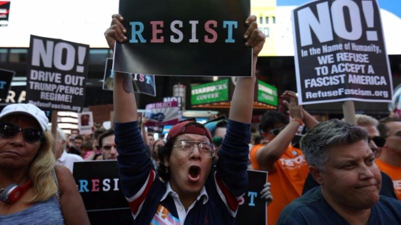 Hundreds rally against Trump's transgender military ban