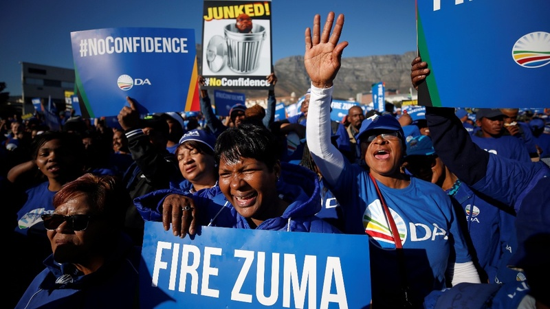 South Africa's Zuma wins no-confidence vote