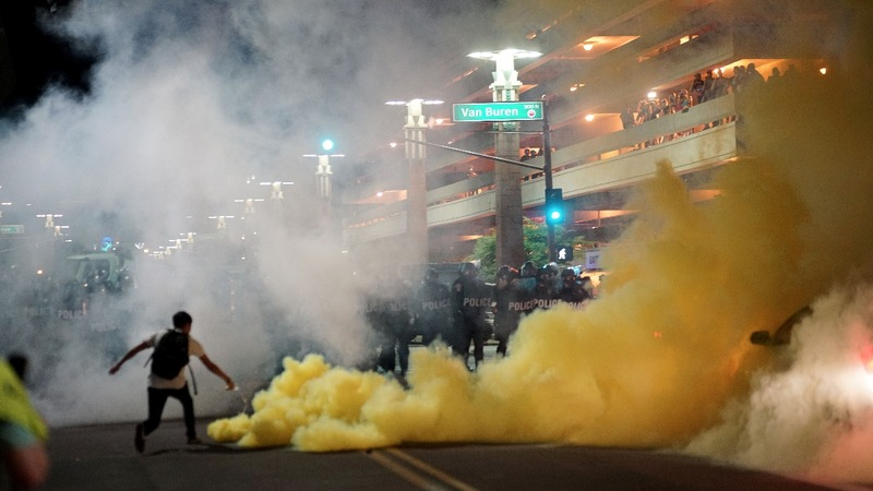 Lively Trump protest in Phoenix ends in tear gas
