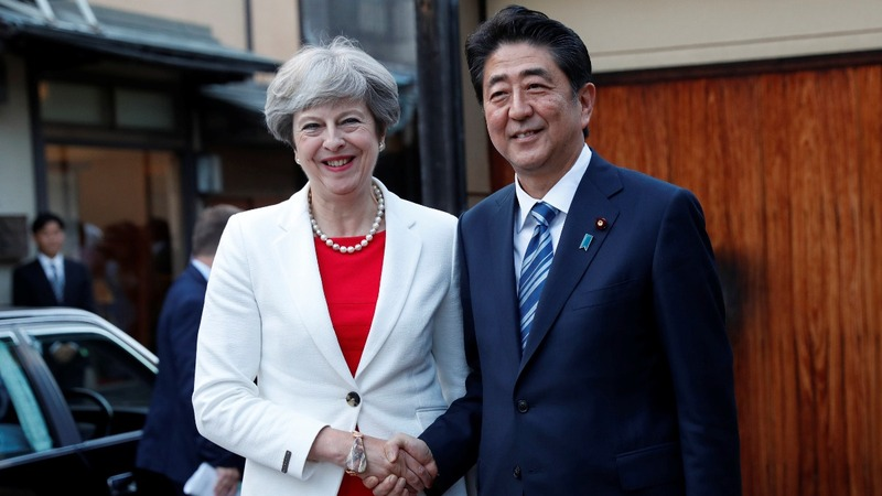 British PM in Japan to discuss trade, Brexit