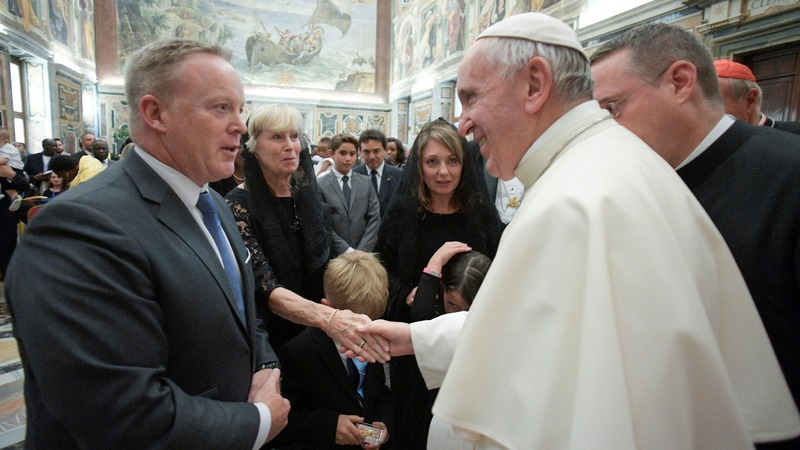 Sean Spicer finally meets Pope Francis
