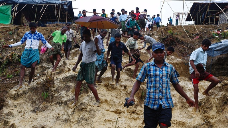 Heavy flooding forces Rohingya in Bangladesh to move