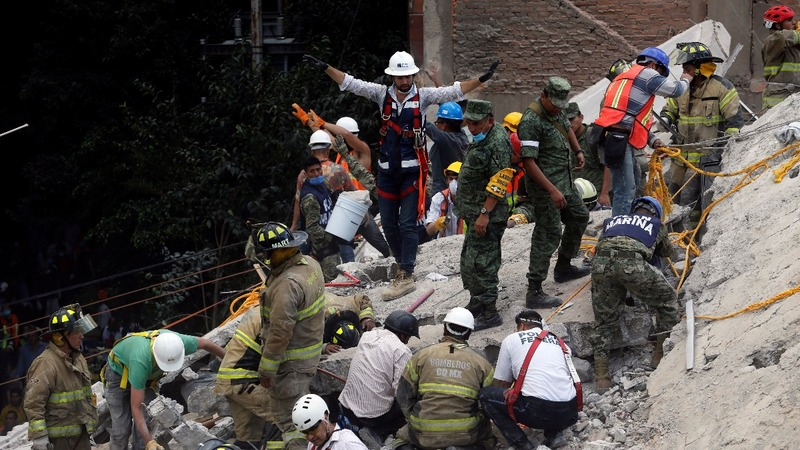 Rescuers search for survivors in Mexico after powerful quake