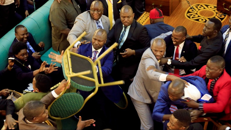 Ugandan lawmakers brawl over presidential age limit