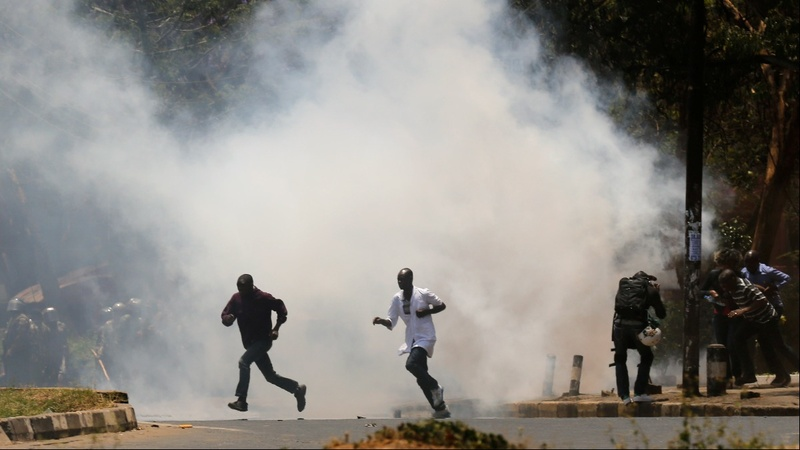 Teargas flies as Kenya election crisis enters third month