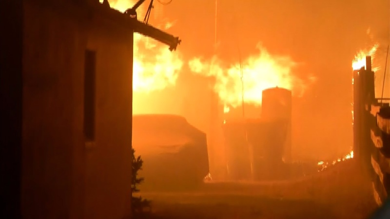 Wildfires rage through California's wine country