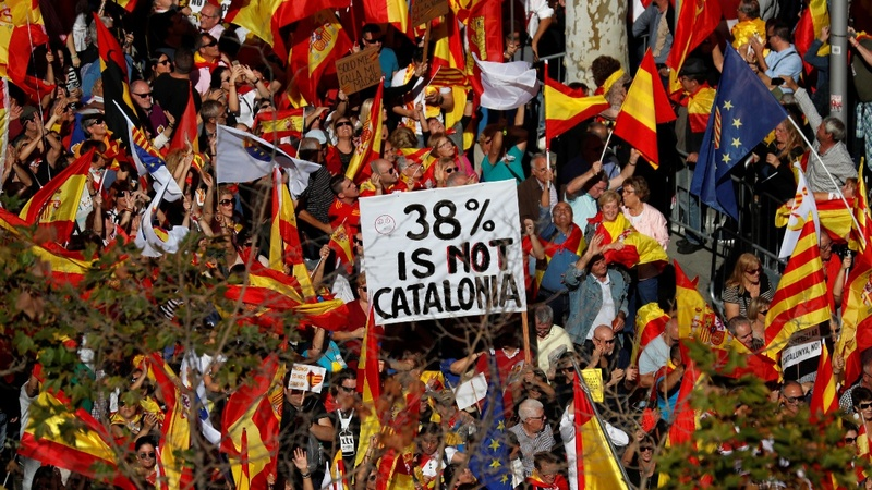 Tense scenes during Catalonia unity march