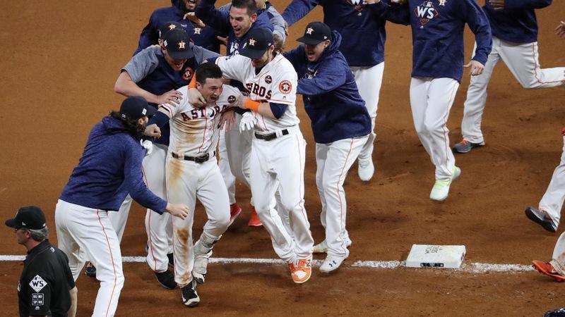 Astros win marathon Game 5, leading World Series