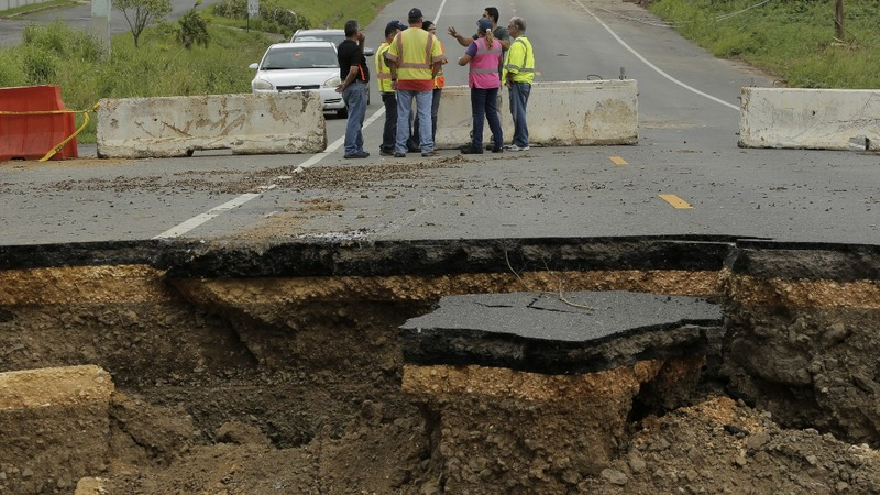 Giant sinkholes slow down Puerto Rico's recovery