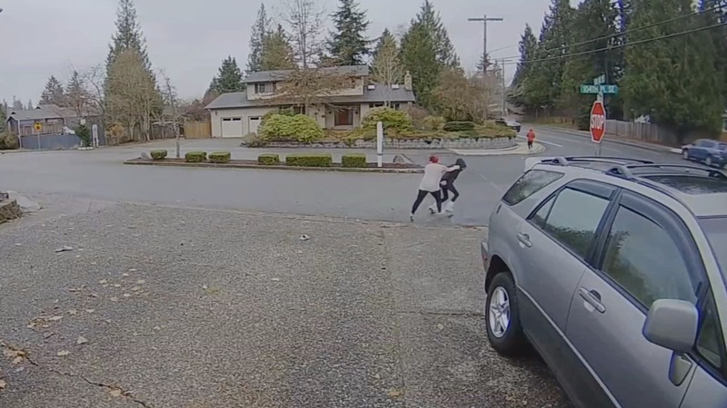 Nanny tackles would-be package thief