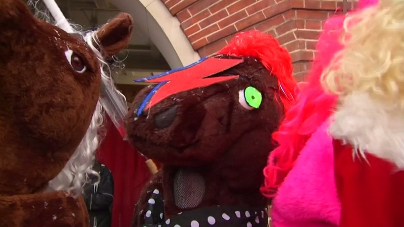 INSIGHT: Pantomime horse race held on London streets