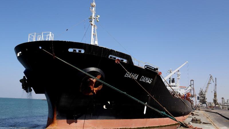 Cargo ship docks in Yemen amid crippling famine