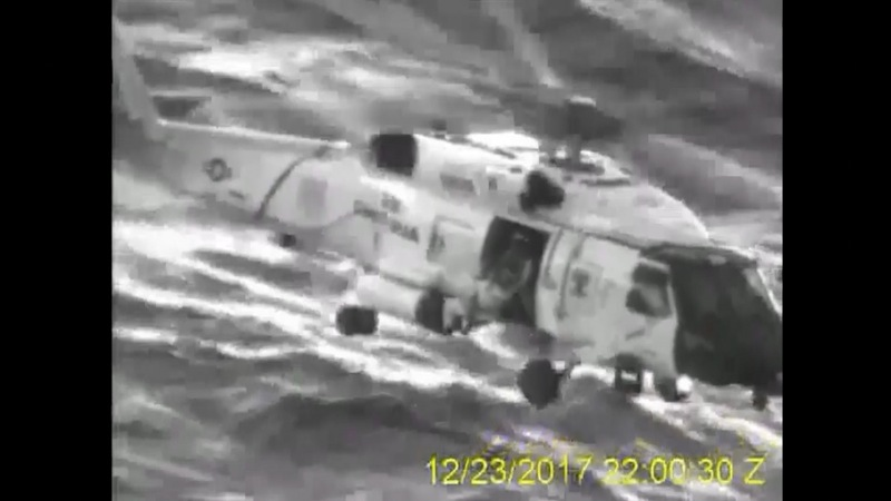 U.S. Coast Guard video shows helicopter rescue