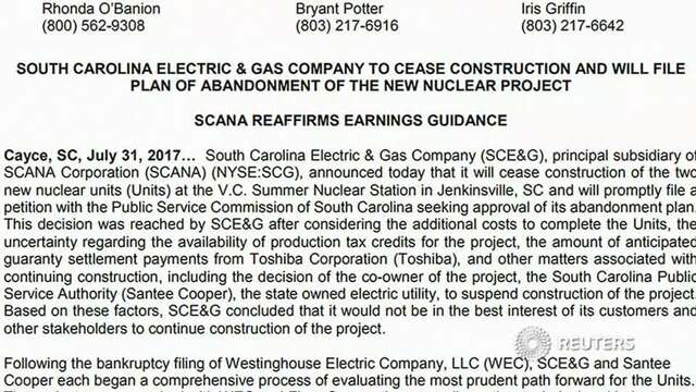 Dominion Energy to buy Scana, assume failed nuclear project costs ...