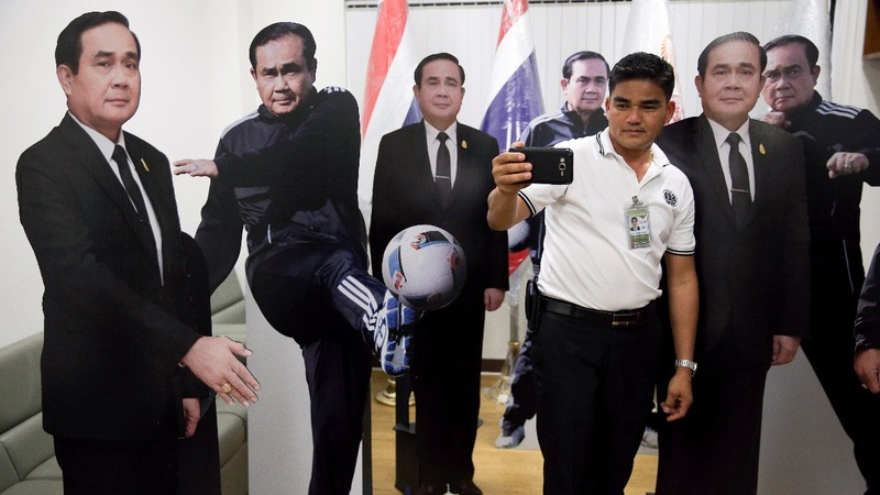 Thai PM uses cardboard cutout to avoid tricky questions