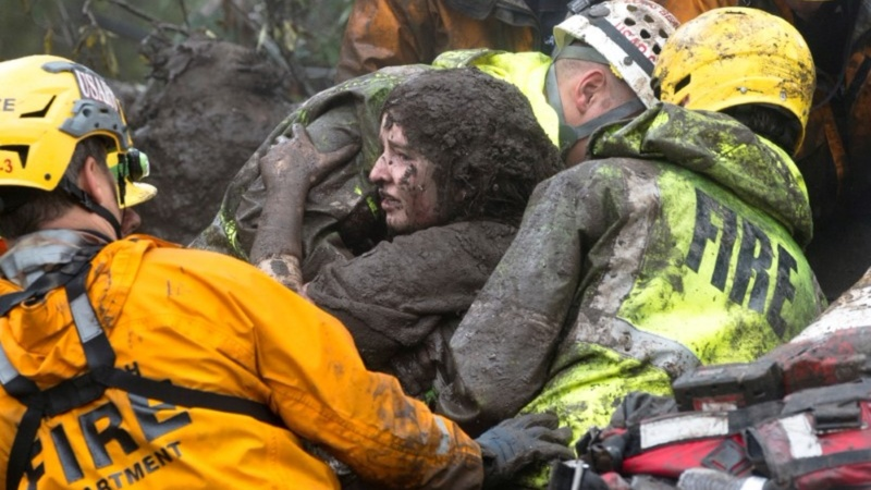 Searching for survivors in mud-soaked Southern California