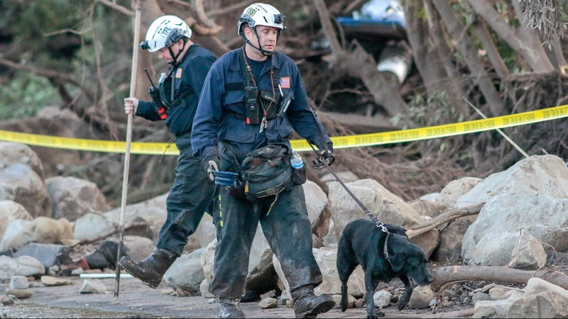 Rescuers look for victims of deadly California mudslides