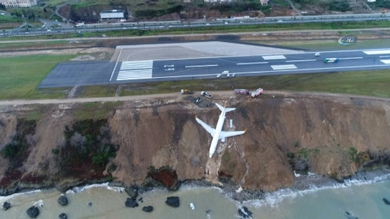 Turkish plane takes nose dive off cliff