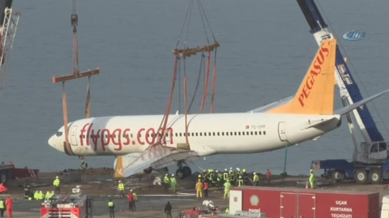 Turkey tows plane that skidded off the runway