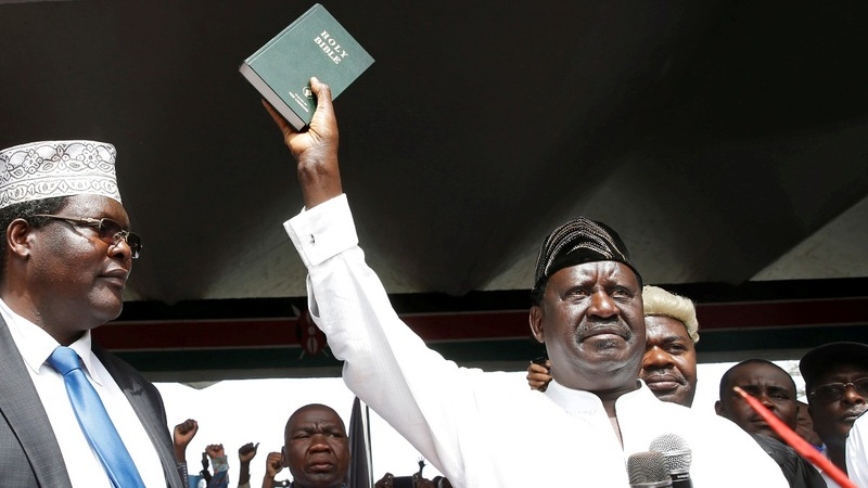 Kenya's Odinga swears himself in as 'president'